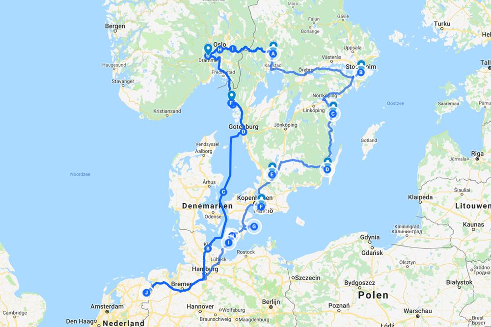 gereden route